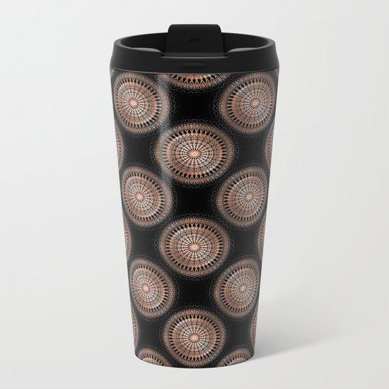 Rose Gold Black Mandala Metal Travel Mug