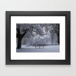 Snowy Tree The Public Garden Boston MA Bench Black and White Framed Art Print