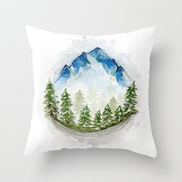 Blue watercolor mountains in the trees Throw Pillow