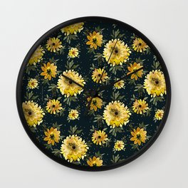 Sunflower Sparkle - black Wall Clock