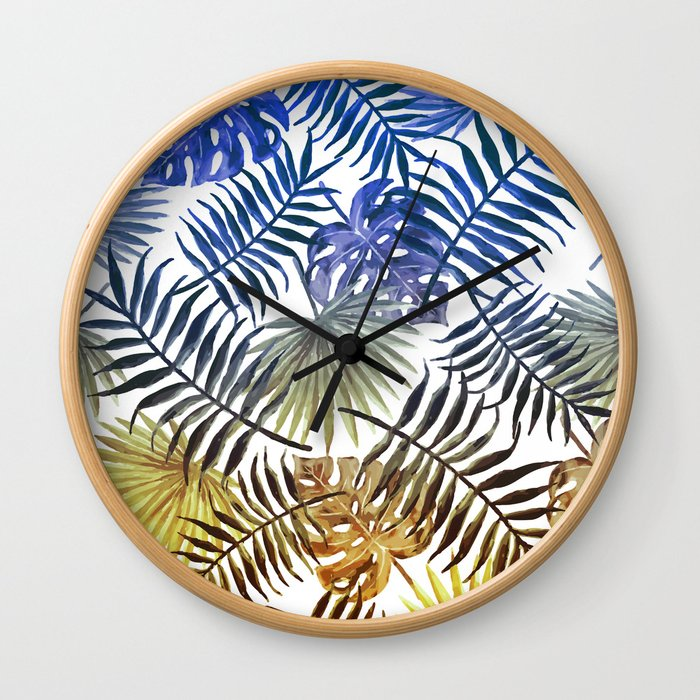 Blue Gold Tropical Leaves Wall Clock