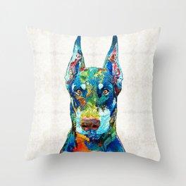 Colorful Doberman Pinscher Dog - Sharon Cummings Throw Pillow