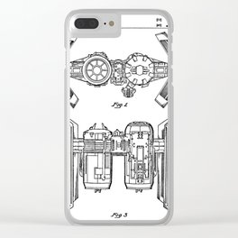 Starwars Tie Bomber Patent - Tie Bomber Art - Black And White Clear iPhone Case