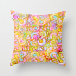 Rainbow Pastel Abstract Typography Watercolor Painting Throw Pillow