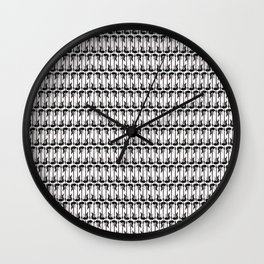 Guitars (Tiny Repeating Pattern on White) Wall Clock