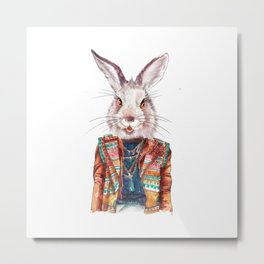 Bunny hippy (female) Metal Print