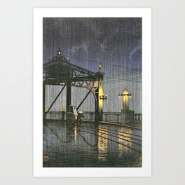 Kawase Hasui - Twenty Views Of Tokyo, Shinohashi Bridge - Digital Remastered Edition Art Print