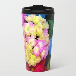 Red Blue Rose Flower Blossoms Hydrangeas Travel Mug