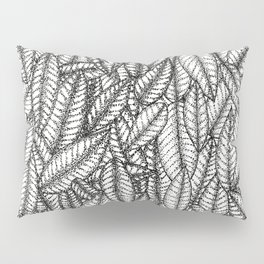 Black and White Botanical Leaf Print with Stick and Poke Style Pillow Sham