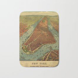 Aerial View of New York by Root & Tinker (1879) Bath Mat