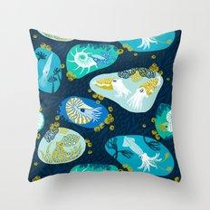 Cephalopods through time Throw Pillow