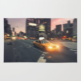 yellow taxi cab on new york city Rug