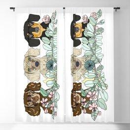 Triple Dachshunds Floral Blackout Curtain