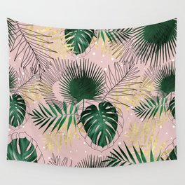 Modern gold tropical leaves and doddles design Wall Tapestry
