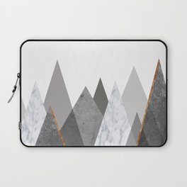 Marble Gray Copper Black and White Mountains Laptop Sleeve