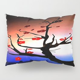 Japanese Maple Under Night Sky With Moon Pillow Sham