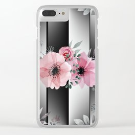 Floral Spray on Faceted Mirror Stripes Clear iPhone Case