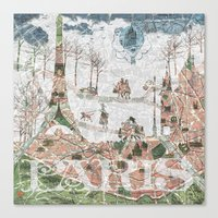 paris map Canvas Prints featuring Paris Map by Paula Belle Flores