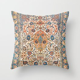 Isfahan Antique Central Persian Carpet Print Throw Pillow