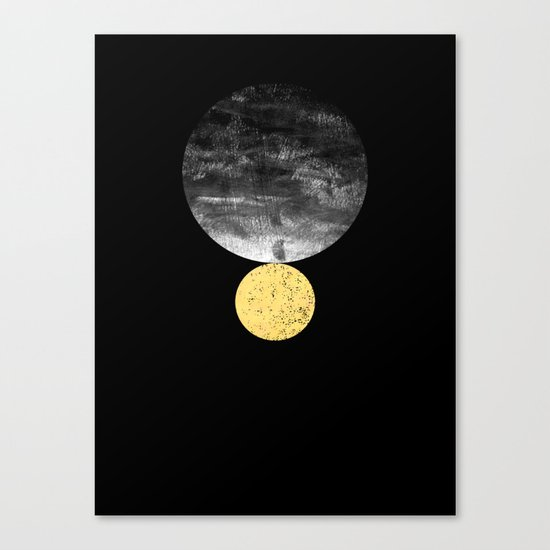 Orson - minimal black and gold modern marble abstract painting dark skywatching galaxy planets space Canvas Print