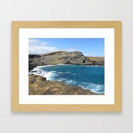 Green Beach and Turquoise Ocean Framed Art Print