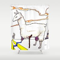 dali Shower Curtains featuring Dali Llama by Andooga Design