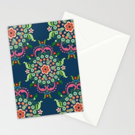 Folk Art Medallions on indigo blue Stationery Cards