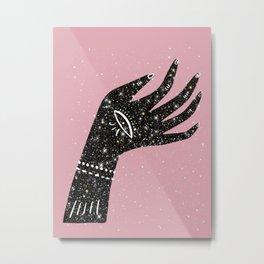 Lucky Hand Pink Glitter Metal Print