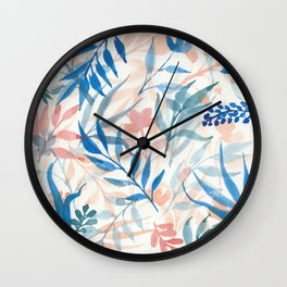 Colorful loose floral pattern Wall Clock