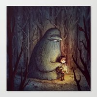 moomin Canvas Prints featuring The Groke by Marija Tiurina