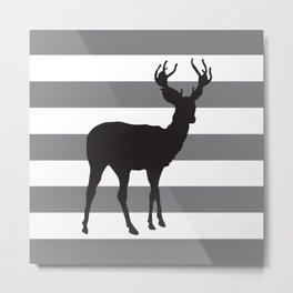 Deer in Black on Grey and White Stripes Metal Print