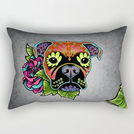 Boxer in Fawn - Day of the Dead Sugar Skull Dog Rectangular Pillow