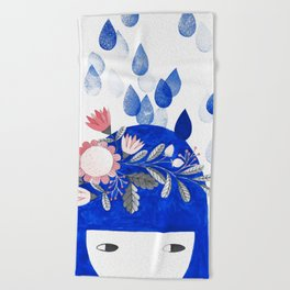 blue girl with raindrops and floral watercolor Beach Towel