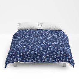 True Blue Snowflake Pattern Comforters