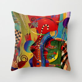 Red green transcendental abstraction Throw Pillow