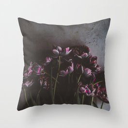 Dark Purple Floral (Color) Throw Pillow