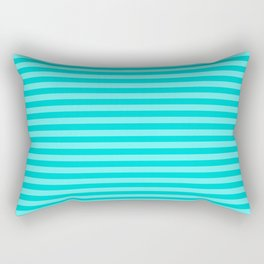 Colorful Stripes, Teal and Turquoise, Beach, Abstract Art Rectangular Pillow