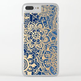 Blue and Gold Mandala Pattern Clear iPhone Case