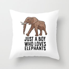 Just a Boy Who Loves Elephants Throw Pillow