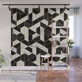 Black and White Marble Hexagonal Pattern Wall Mural
