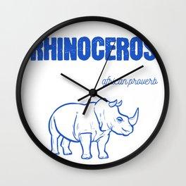 Rhino Tree African African Animal Activist Gift Wall Clock