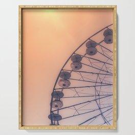 Golden Ferris-wheel -France, Europe, Wanderlust Vintage Summer Travel Architecture City Photography  Serving Tray