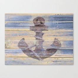 Rusty Anchor Grey Blue Beach Lake House Coastal Home Decor A177 Canvas Print