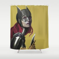 batgirl Shower Curtains featuring BATGIRL by corverez
