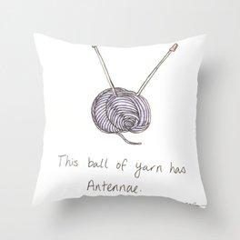 This Ball of Yarn has Antennae. Throw Pillow