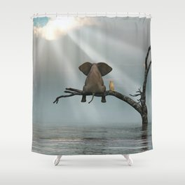 elephant and dog sit on a tree during a flood Shower Curtain