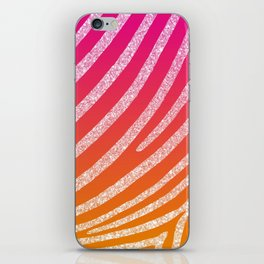 Hot Pink Orange Ombre Glitter Zebra Stripe iPhone Skin