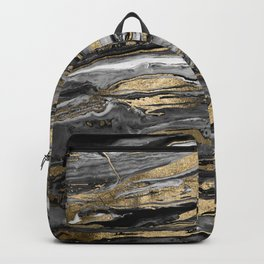 Stylish gold abstract marbleized paint Backpack