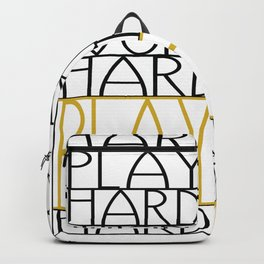 Work Hard, Play Hard - Black, Yellow - Saying, Quote - Typography Backpack