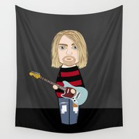 kurt cobain Wall Tapestries featuring Kokeshi Kurt by Pendientera